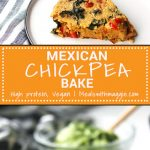 a long image of chickpea bake with text.