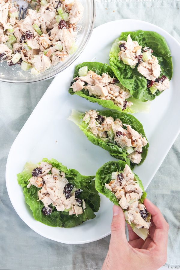 5-ingredient healthy chicken salad that can be eaten multiple ways! So easy, satisfying and perfect for any occasion! | Mealswithmaggie.com #healthychickensalad #5ingredientmeals #easydinneridea #easylunchidea #partysnack #rotisseriechicken #mealswithmaggie #quickmeals #chicken #healthysalad