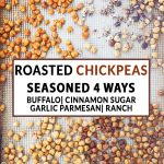 Chickpeas on a sheet pan with text in the middle
