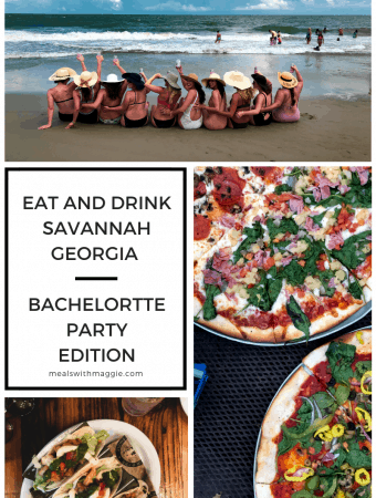 Places to eat and drink in Savannah Georgia on a bachelorette party. A collection of restaurants and ideas for a bachelorette party or fun girls' weekend. | MealswithMaggie.com #savannahgeorgia #bacheloretteparty #bachelorettepartydesignation #eatanddrinkinsavannahGeorgia #savannaheats #savannahgeorgia