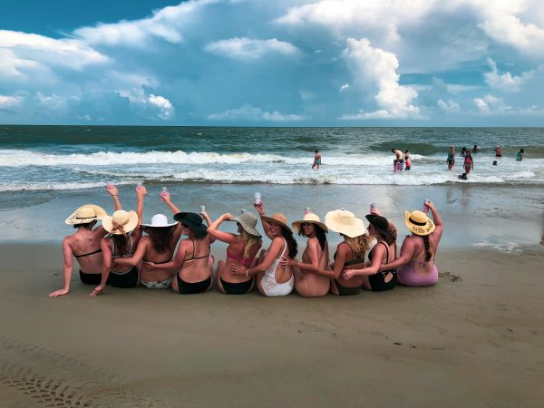 girls on a bachelorette party in swimsuits in savannah Georgia