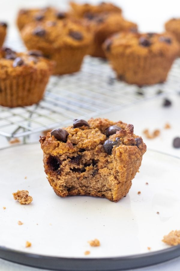 These healthy grain free pumpkin muffins are gluten free, oil free, low in carbohydrates, high in fiber, soft and moist. They can be made into mini muffins or frozen for later use. | mealswithmaggie.com #pumpkinmuffins #healthypumpkinmuffins #grainfree #oilfree #glutenfree #healthymuffins #healthyfallmuffins #healthybreadrecipes #almondflourmuffins#lowcarbmuffins