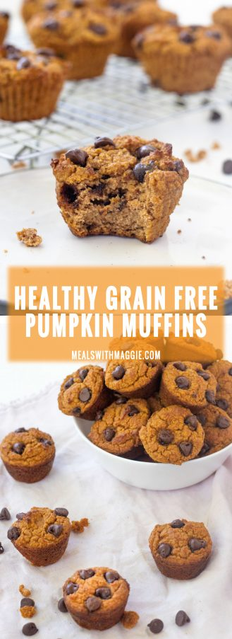 Long image with text of healthy grain free pumpkin muffins