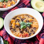 Instant Pot Vegetarian Quinoa Chili - Healthy & hearty chili made with sweet potatoes, quinoa, black beans and smokey southwestern flavors. Can be ready in under 20 minutes is vegan and gluten free. | Mealswithmaggie.com #instantpot #fallsoup #vegetariansoup #vegansoup #onepotmeal #instantpotsoup #vegetarianchili #glutenfreesoup #healthyvegetarianchili