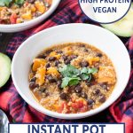 chili in a bowl with black beans and quinoa