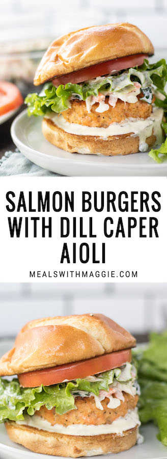 Long image with text and salmon burgers.