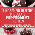 5-ingredient healthy chocolate peppermint truffles have a doughy center that is coated with a crunchy chocolate shell. A satisfying under 100 calorie healthy holiday dessert.  | Mealswithmaggie.com #healthydesserts #healthypeppermint #chocolatepeppermint #holidaytruffles #chocolatepepperminttruffles #healthierdessert #5ingredientdessert