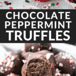 a bowl full of chocolate truffles with holiday sprinkles around them.