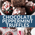 chocolate peppermint truffles with holiday sprinkles and a soft center.