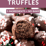 chocolate truffles with a bite taken out in a bowl with 5 ingredients.