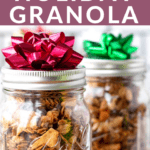 granola in mason jars as a holiday gift idea.