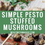 stuffed mushroom with pesto on a plate