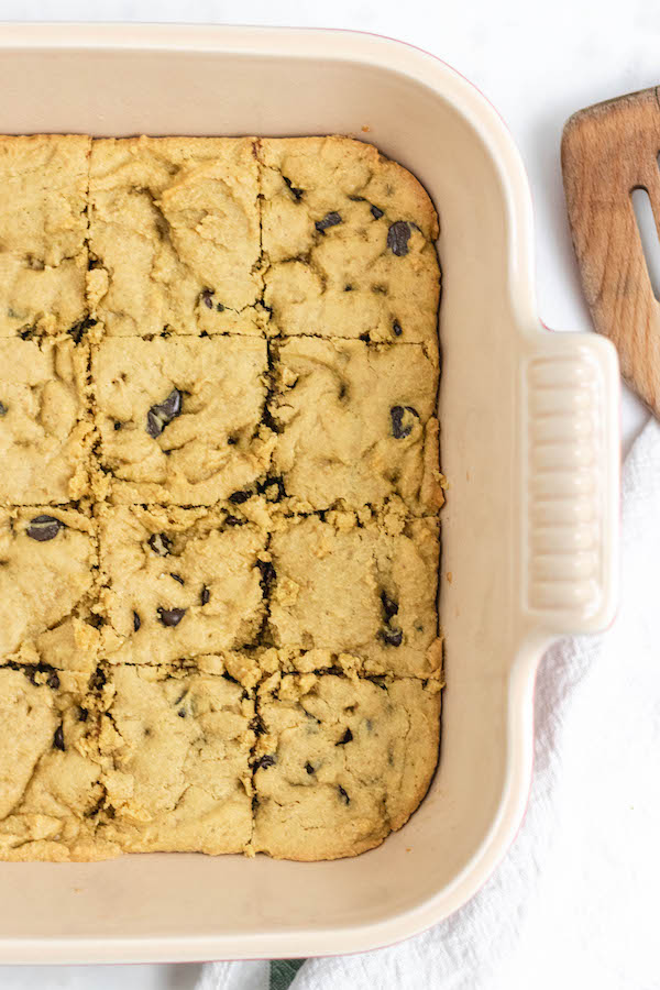 Healthy Peanut Butter Blondies in the baking pan.