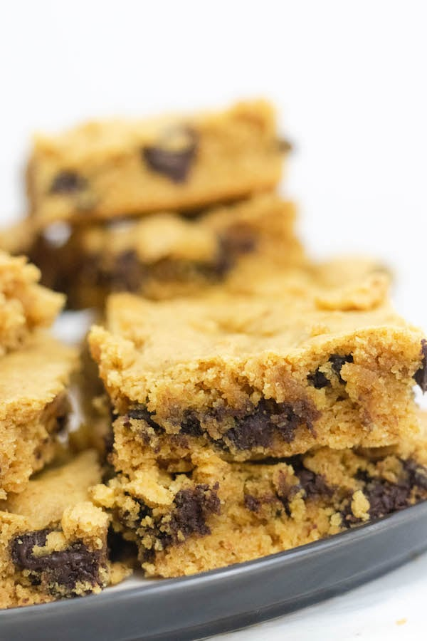 Blondies on a plate stacked
