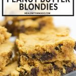 a plate of blondies with peanut butter and chocolate chips