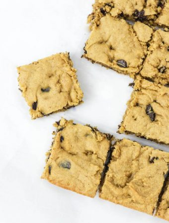 peanut butter blondies cut into squares