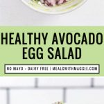 A long image of the ingredients of health avocado egg salad and it in a wrap.