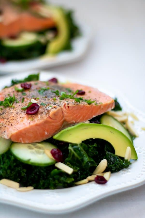 salmon on top of vegetables