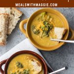two bowls of chicken broccoli cheddar soup with spoons