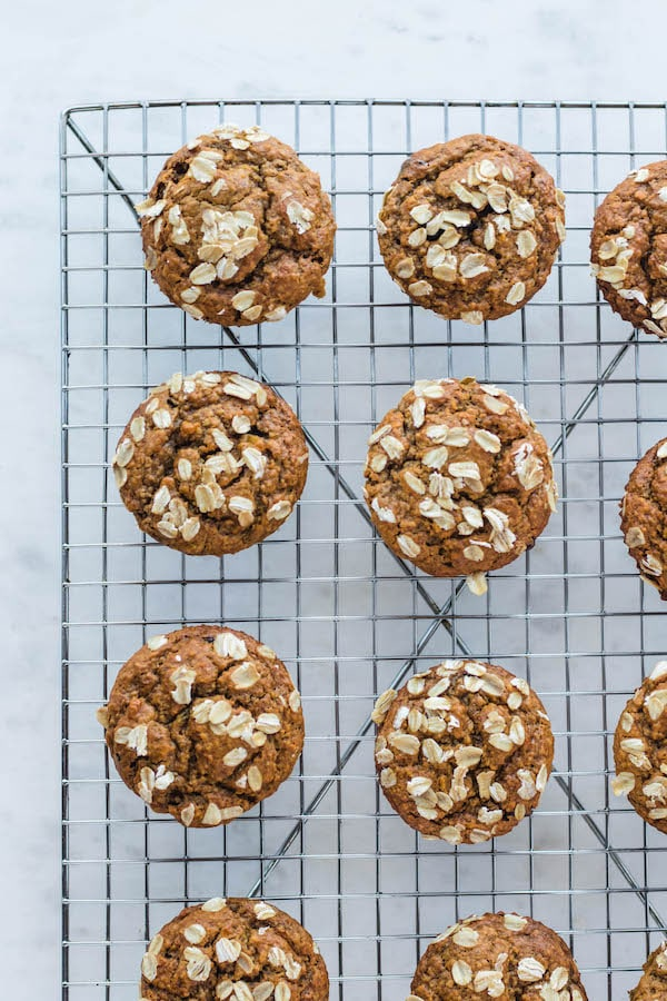 Rows of flourless banana oatmeal muffins