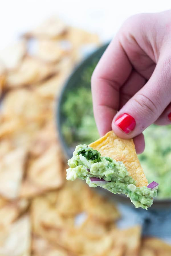 close up of chip with dip on it.