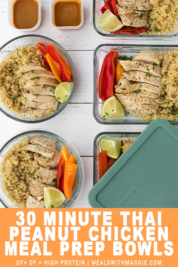 Thai Peanut Chicken Meal Prep bowl with title at bottom of image.