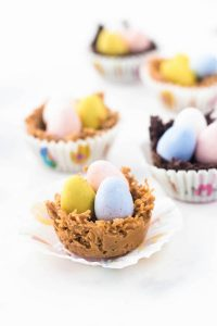 easter egg nests lined up in a row