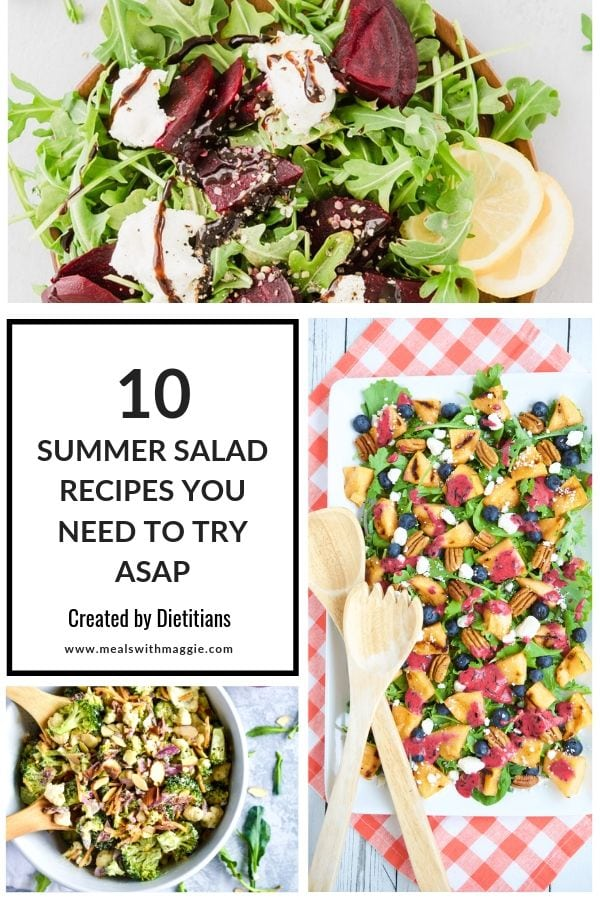 Pictures of salads around text that says 10 summer salad recipes.