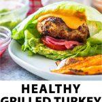 turkey burger with text below.