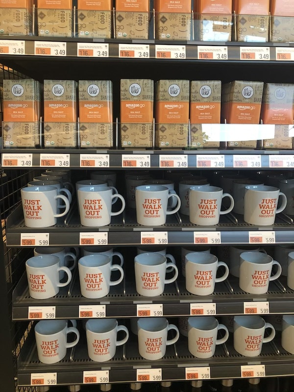 mugs and chocolate at AmazonGo store.