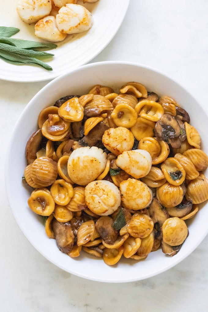 Scallops in a bowl with pasta and sage.