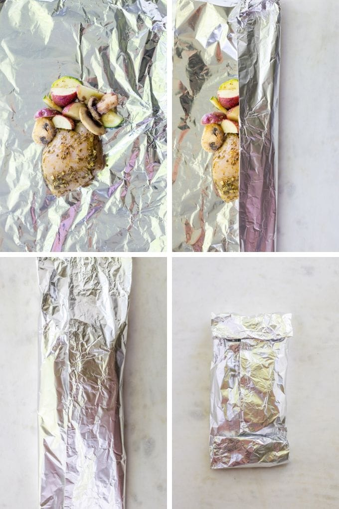 Images of how to fold the foil around the chicken