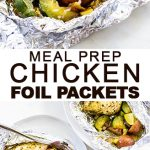 long image of chicken in foil packets with text