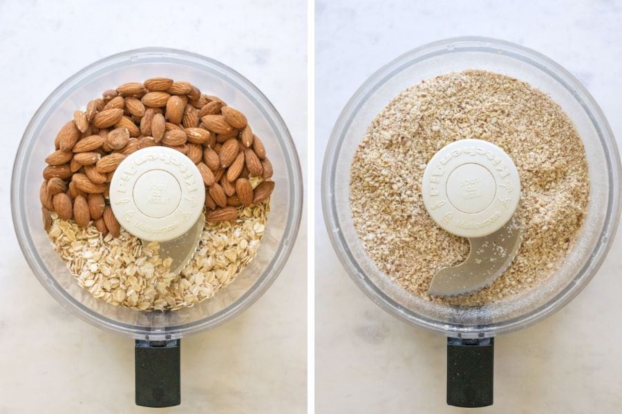 side by side picture of oats and almonds in a food processor.
