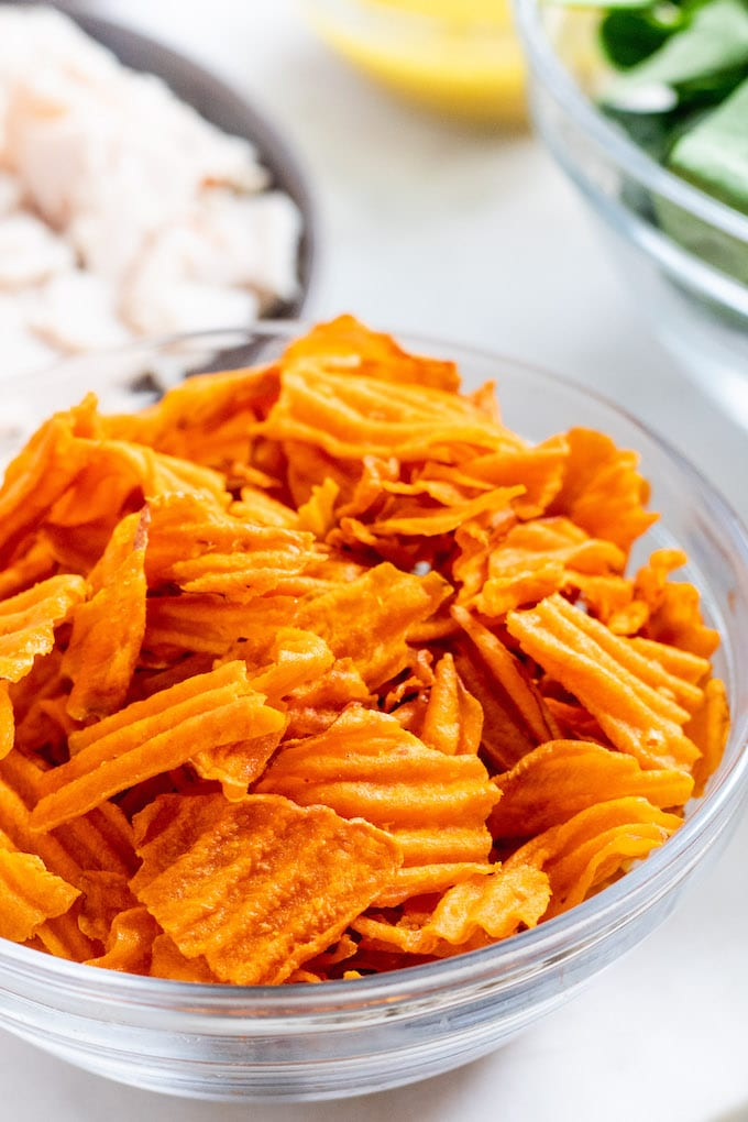 Sweet potato chips in a bowl.