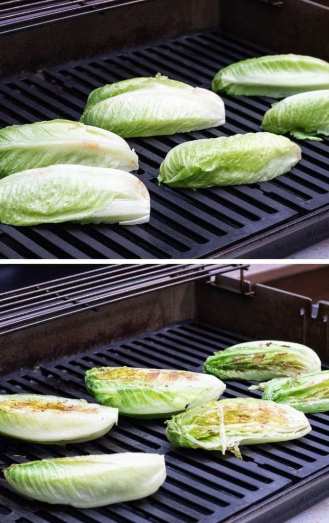 Romaine on a grill.