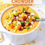 a bowl of corn chowder with text above it.