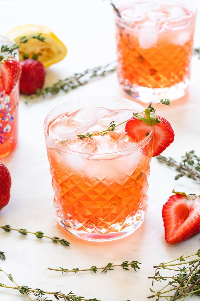 strawberry thyme drink with vodka and lemon.
