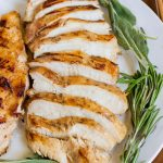 Sliced chicken on a plate.