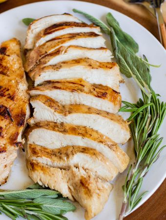 Chicken on a plate, sliced.
