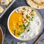 Curry in a bowl with cauliflower and butternut squash