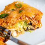 Enchilada lasagna stuffed with avocado cream