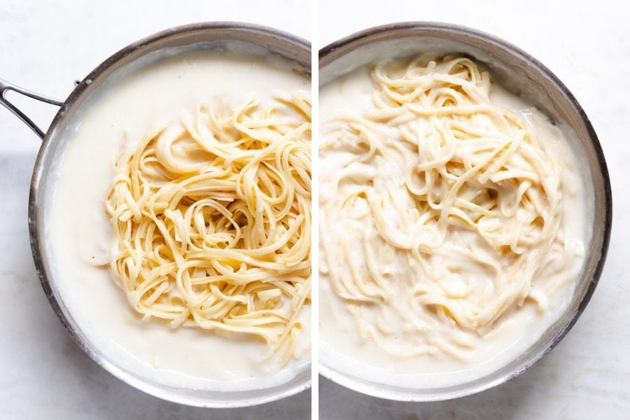 a side by side shot of pasta in creamy Sauce.