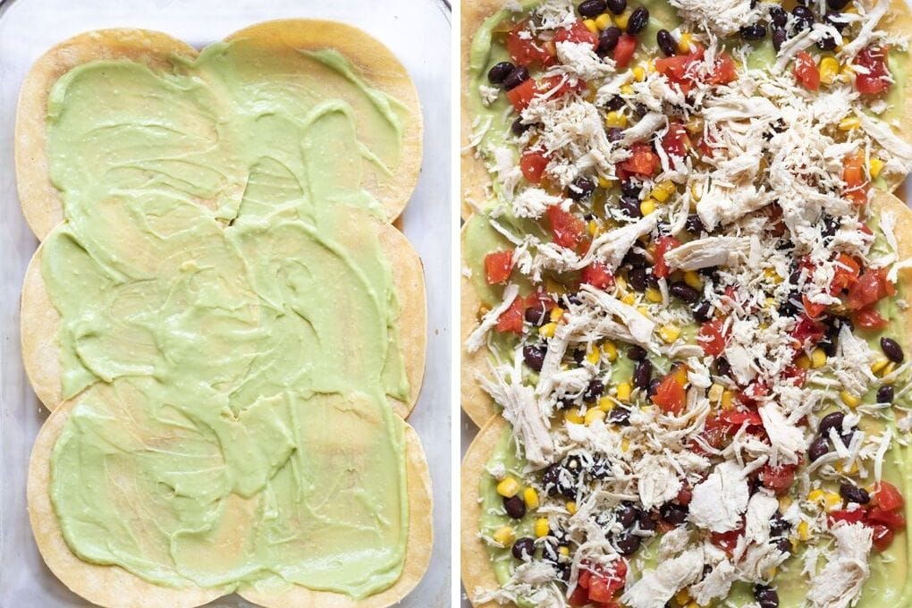 Side by side picture of enchilada lasagna.