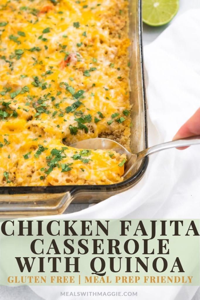 chicken fajita casserole with text.