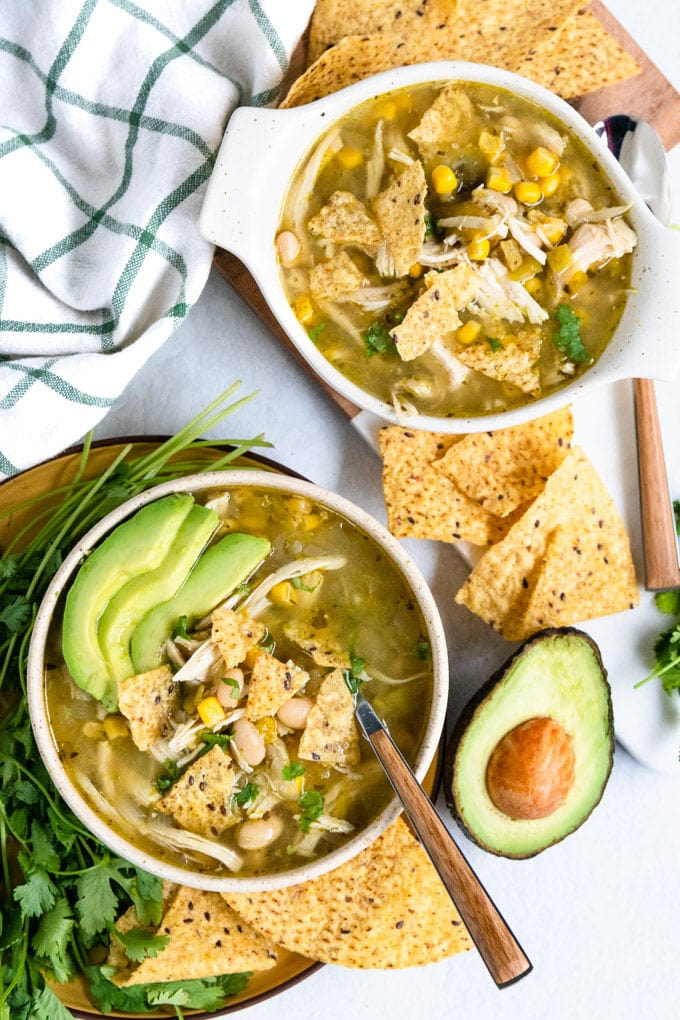 instant pot salsa verde soup in bowls.