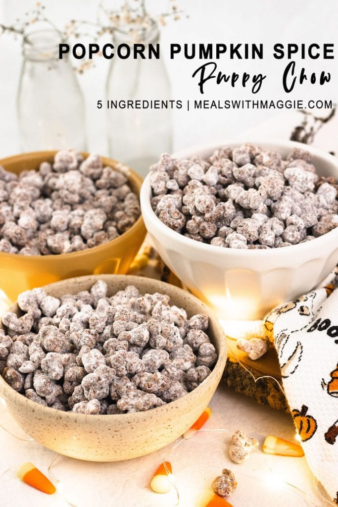 Popcorn puppy chow halloween theme with text.