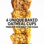 a stack of oatmeal cups with text.