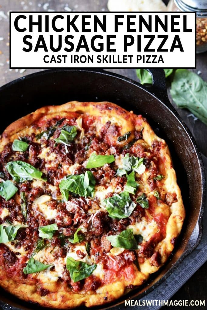 Pizza in a cast iron skillet with text.