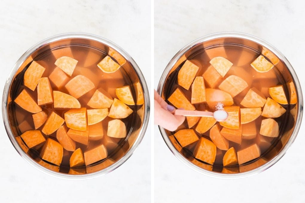 a side by side picture of sweet potatoes in an instant pot.